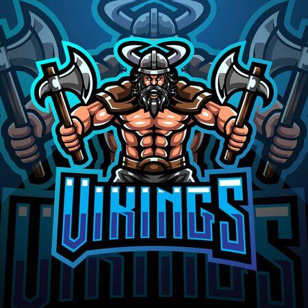 Viking mascot gaming  design holding axe