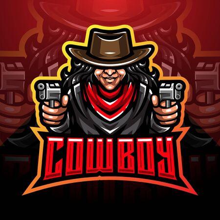 Cowboy esport mascot logo design Logos