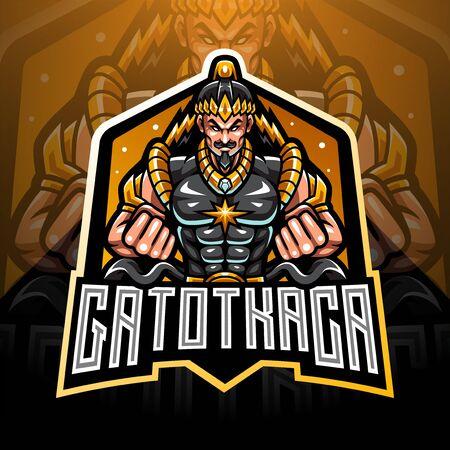 Gatotkaca esport mascot design Ilustración de vector