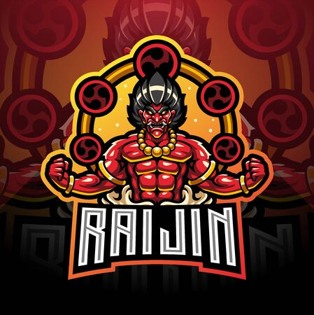 Raijin esport mascot logo design