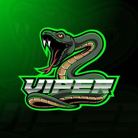 Green viper snake mascot logo design Logo