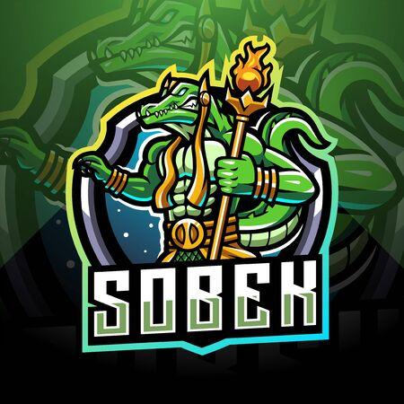 Sobek esport mascot logo design Logo