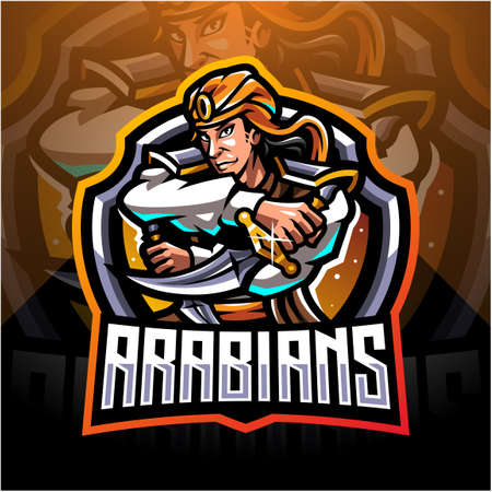 Arabians esport mascot logo design Illusztráció
