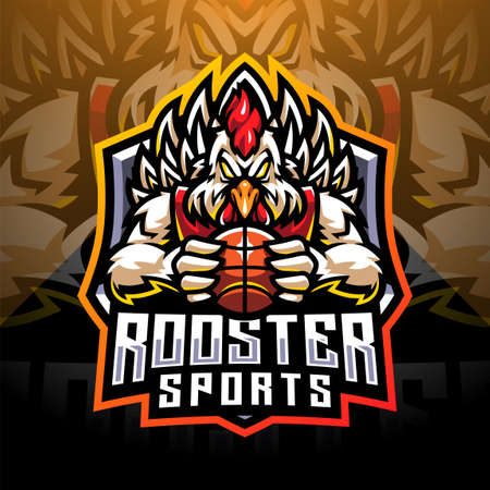 Rooster sports esport mascot logo design 向量圖像