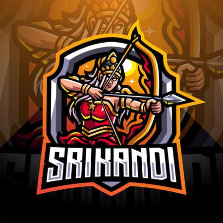 Srikandi esport mascot logo design 免版税图像 - 156276072