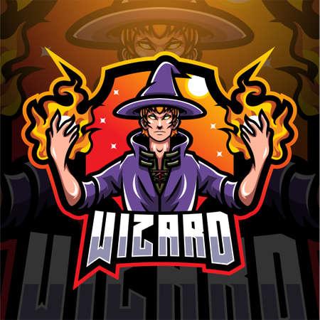 Wizard esport mascot logo design