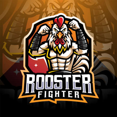 Rooster fighter esport mascot logo design