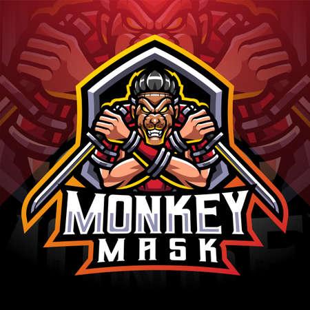 Monkey mask ninja esport mascot logo