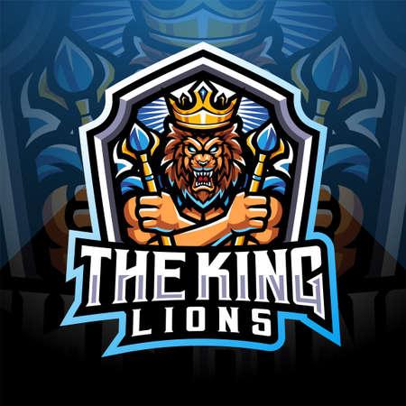 The king lions esport mascot logo design