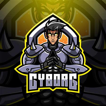 Cyborg esport mascot logo design Vettoriali