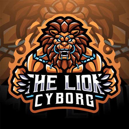 The Lion cyborg sport mascot emblem 矢量图像