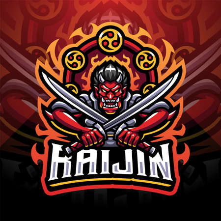 Raijin sport mascot emblem 矢量图像