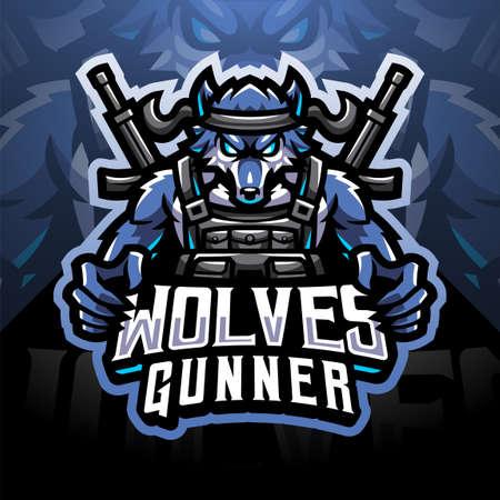 Wolves gunner sport mascot emblem