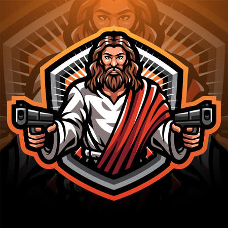 Jesus gunner sport mascot emblem
