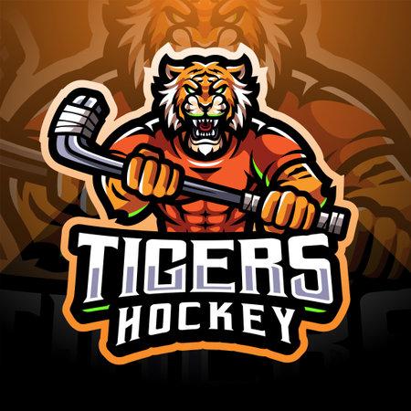 Tigers hockey sport mascot emblem