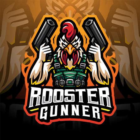 Rooster gunner mascot 矢量图像