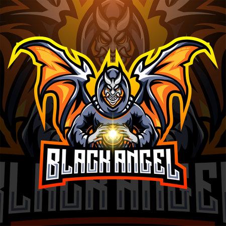 Black angel esport mascot design