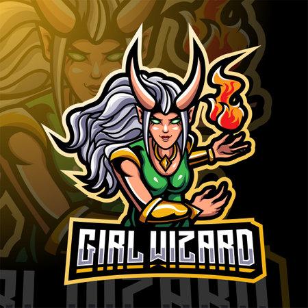 Girls wizard esport mascot design