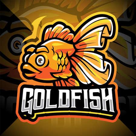 Goldfish esport mascot logo design 矢量图像