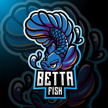 Betta fish esport mascot logo