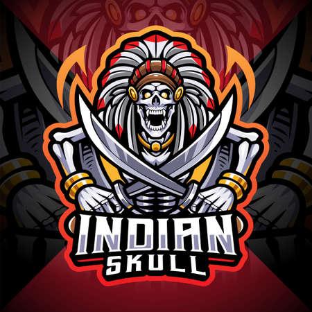 Indian skull esport mascot logo 矢量图像