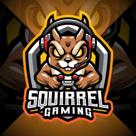 Squirrel gaming esport mascot logo design 矢量图像
