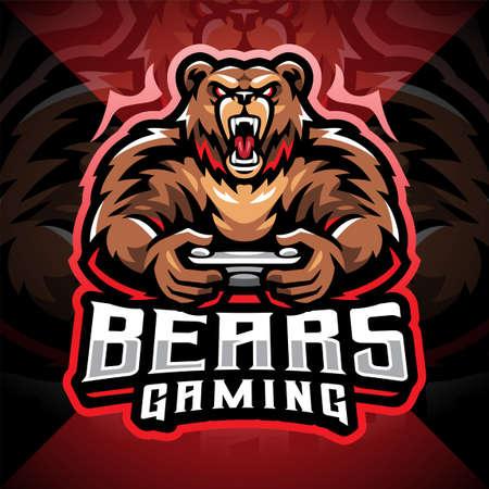 Bears gaming esport mascot logo design