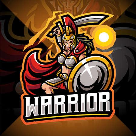 Women warrior esport mascot logo design