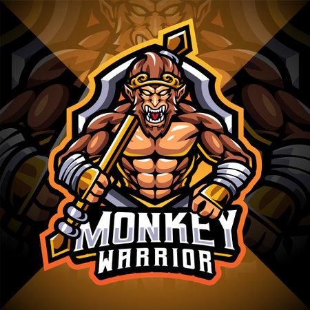 Monkey warrior esport mascot logo design 矢量图像