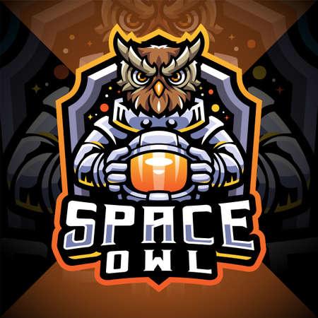 Space owl esport mascot logo design