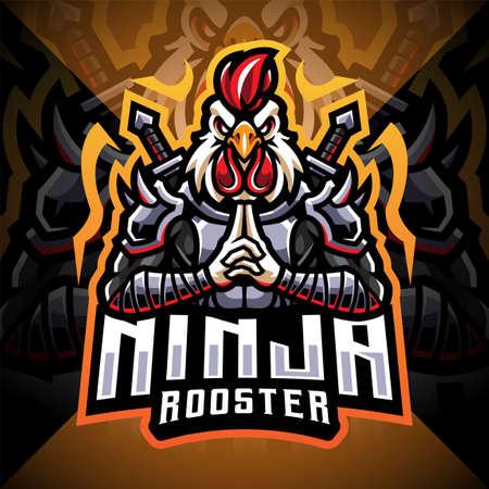 Ninja rooster esport mascot logo design