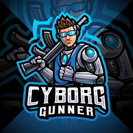 Cyborg gunners esport mascot logo design