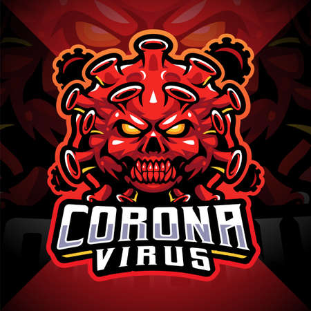 Corona virus esport mascot logo design 矢量图像
