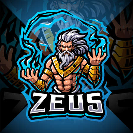 Zeus esport mascot logo design 矢量图像