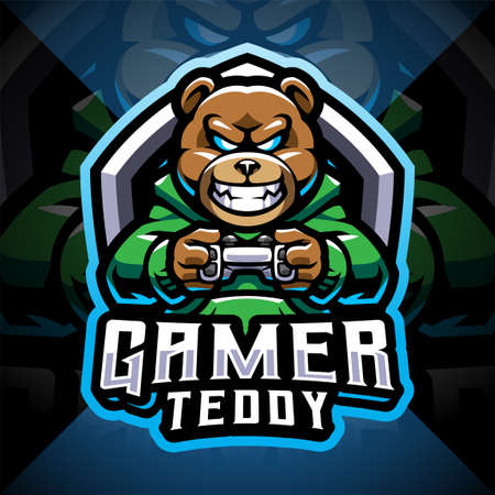 Teddy bear gamer esport mascot logo