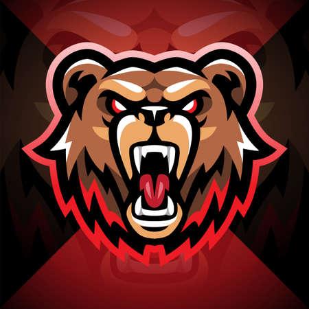 Bear head esport mascot logo design