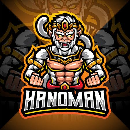 Hanoman esport mascot logo design