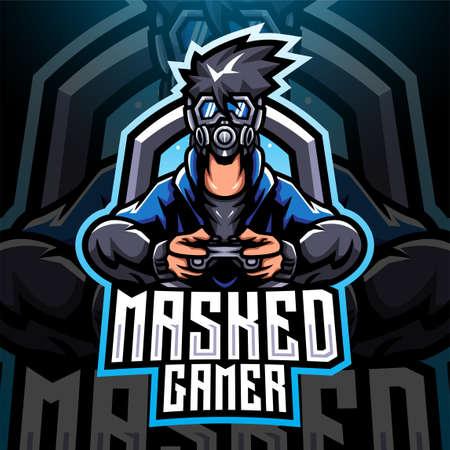 Mask gamer esport mascot logo design