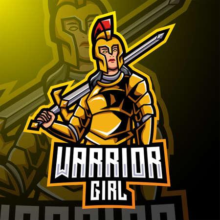 Warrior girl esport mascot logo design