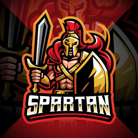 Spartan esport mascot logo design 矢量图像