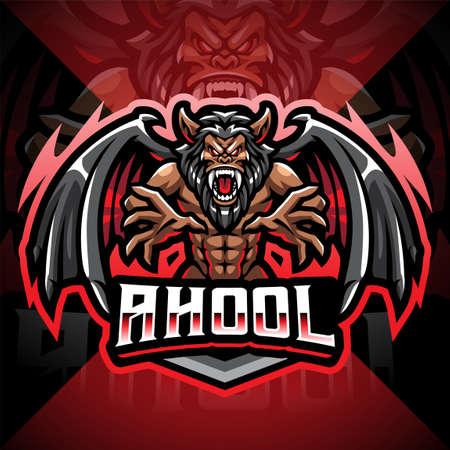 Ahool esport mascot logo design 矢量图像