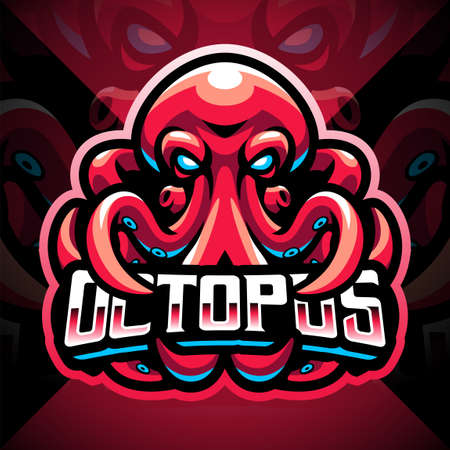 Octopus esport mascot logo design 矢量图像