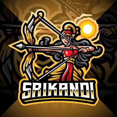 Srikandi esport mascot logo design 矢量图像