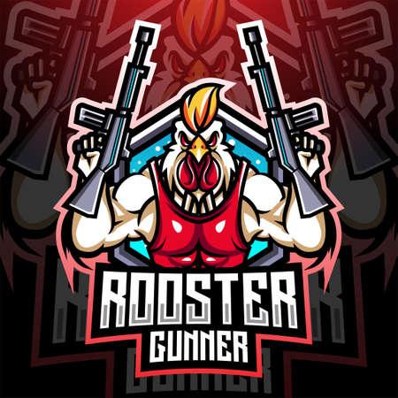 Rooster gunner mascot design 矢量图像