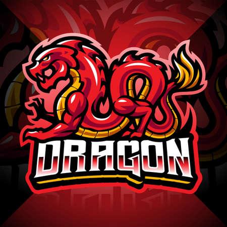 Dragon esport mascot logo design 矢量图像