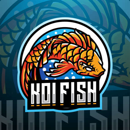 Koi fish esport mascot logo design 矢量图像
