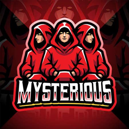 Mysterious esport mascot logo design 矢量图像