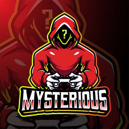 Mysterious gamer esport mascot logo design 矢量图像