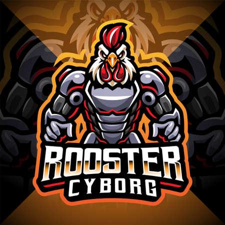 Rooster cyborg mascot logo design