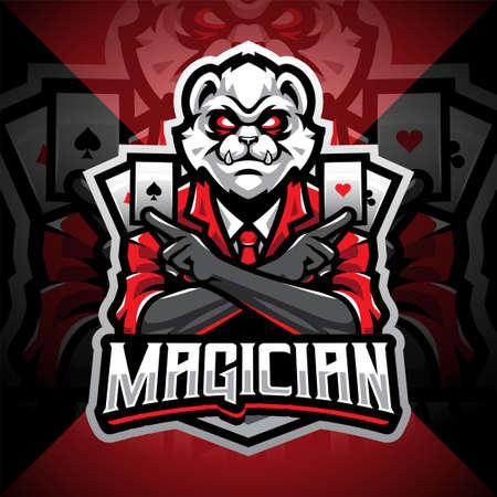 Magician panda esport mascot logo